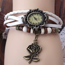 7 Colors Available 2013 New HOT lady Genuine Leather Vintage Watch women bracelet Wristwatches High butterfly /leaf/flower