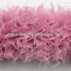 chiffon flower shabby rose trim,rose chiffon lace flower applique