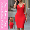 New design casual nice Red Knotted Open Back Bodycon Midi Dress