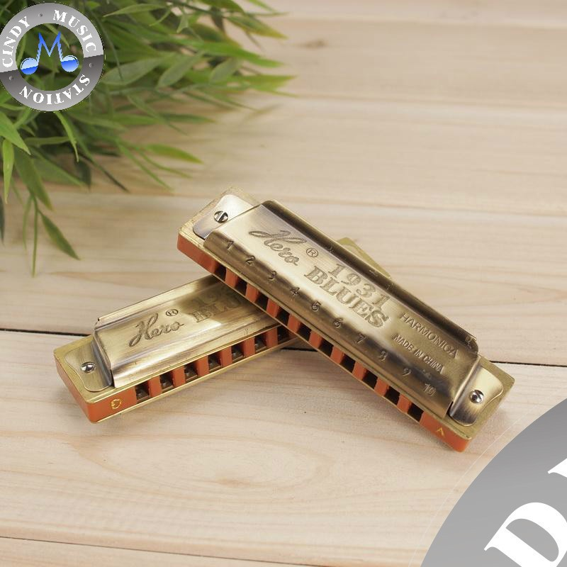 Wholesale Hero M1205 Bronze 10 Hole Blues Harmonica Diatonic Harmonica/Mini Harmonica Brand New ...