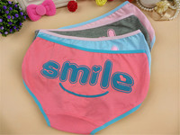 3569-5 colorful cartoon smile face ladies underwear Angola cotton women briefs wearing stylish young girls panties/ panty liner
