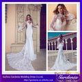 Alta qualidade da marca bonito branco manga longa vestidos de noiva sereia gola alta fechadura traseira longa trem do laço