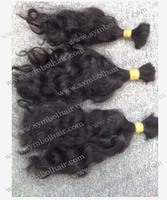 "10""Natural color Chinese virgin hair bulk"