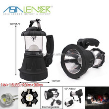 Multiple Lightness Modes 1W On-OFF-15 LED On 4V 700mAH Li-ion Internal Battery ABS Flashlight for Tents