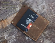 Crazy horse leather credit card passport holder case set