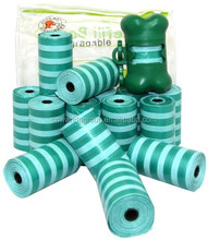 wd1709 Extra Thick Waste Poop Bag With Dispenser, Scented, Green Stripes