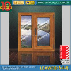 Popular Style Aliminum clad Wood Swing Door/Aluminum Swing Door Made in Guangzhou Leawod with Toughened Glass in 2015