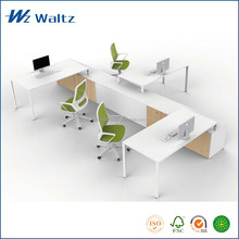 Melamine Steel leg support cheap office workstation for 3 people