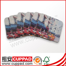 Fashion design made in China leather coaster sets for office OEM MDF