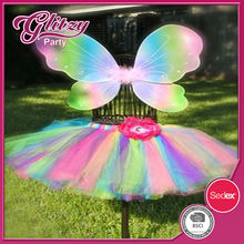 FTW-05 2015 Girls Kids Childrens rainbow Butterfly Fairy Princess Wings with Tutu Skirt Tinkerbell Fairy ballet tulle Tutu