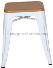 New arrival antique stool with wooden top/vintage metal stool with wooden seat/wooden mat metal stool HY-H450