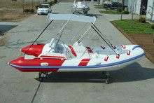 4.7m Rigid Hull Fiberglass inflatable sport motor RIB boat RIB470C with PVC or Hypalon tubes for sale
