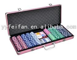 500pcs poker game set with custom poker chips,aluminum cases