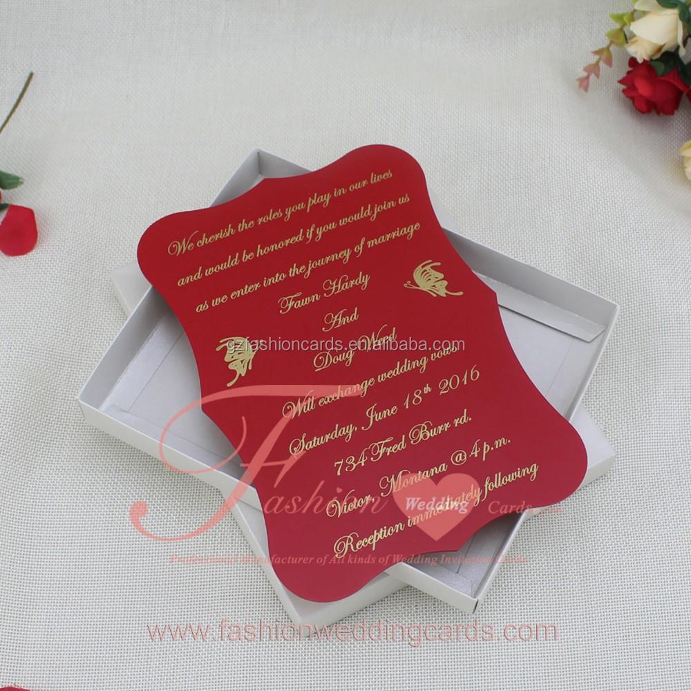 New Design 2017 Custom Red Plexiglass Acrylic Wedding Invitations In ...