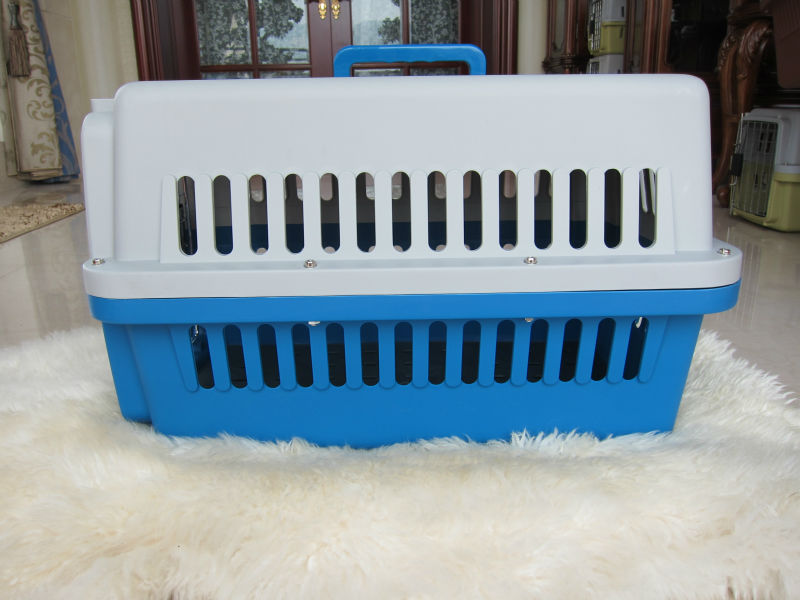 Plastic pet kennel with metal door