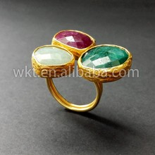 Newest!! Indian natural triple gemstone rings in 24k real gold plated, 3 amazonite stone bezel rings WT-R068