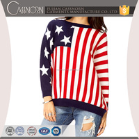 American flag print Textured knitted woolen sweater designs for ladies with dolman sleeves