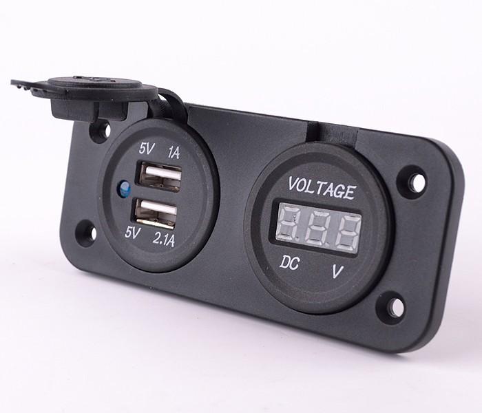 мотоцикл dual usb зарядное устройство адаптер вольтметр гнездо розетки питания f iphone ipad x 10093