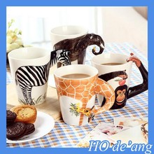 HOGIFT handmade 3D animal mug/hand painted ceramic cup/elephant cup