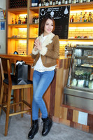 Warm Winter Women's Double Face Sheepskin Real Lamb Fur Jacket Style Short Coat