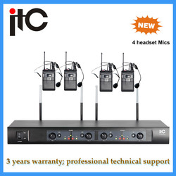 UHF 4-channel Headset cheap price wireless microphone for teachers