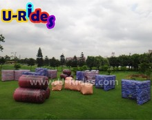Hot air sealed Colorful Big Inflatable paintball arena for sports games