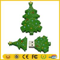 Christmas usb for gift/PVC Christmas tree usb/Custom cartoon PVC usb flash drive