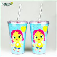 12oz 350ml Double Wall Personalized Acrylic Tumbler with Straw