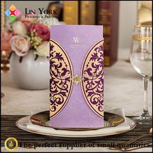 luxurious purple design printing wedding party invitation card