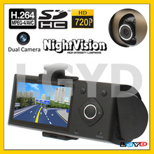 QH001 Copper, 2.7 inch High Resolution LTPS LCD Screen Dual Camera 720P Vehicle DVR
