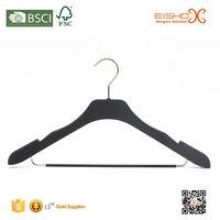 Eisho Durable Black Color Non Slip Coat Velvet Hanger