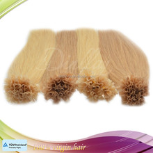 Single drawn unprocessed 6a top quality remy nail hair extensions