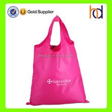 Custom cheap super light 210D polyester pink foldable shopping bag