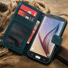 Vintage style flip wallet leather case for galaxy S6