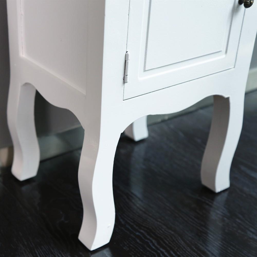 프랑스어 국가 스타일의 흰색 침대 사이드 테이블, 재활용 나무 ...