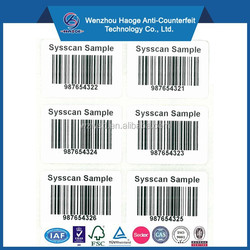 Printing clear barcode label waterproof labels & label with running number