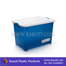 High quality houseware plastics, 40L/60L plastic organizing storage container with wheels