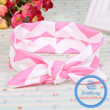 5.5cm baby girls pink chevron bunny head wear hair accessories for baby headband