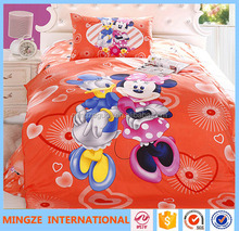 100% cotton Childrens Kids colorful cartoon bedding sets with pillowcases
