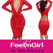 الجملة الأحمر رايات الخامس الرقبة فستان ضيق جنسي كامل