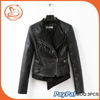 Brand Faux Soft Leather Jackets New Fashion Women Zipper Full Sleeve Turn-down Collar Motorcycle Coat