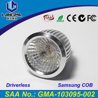 Langma 2016 Latest fashion 5 Years Warranty LED 6W driverless Samsung COB CRI 85ra 60 degree beam angle led spotlight