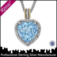 Unique 925 Sterling Silver Big Sapphire Heart Solid Pendant Necklace