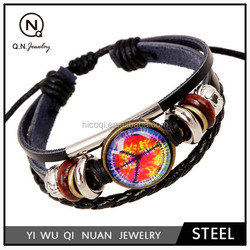 The new retro time gem beaded leather bracelet QN03680