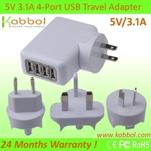 5V/3.1A USB Cargador 4-Port Charging Station+4 Port Travel/Wall Charger Power Adaptor for LG G3, Smartphones, Tablets, iPods