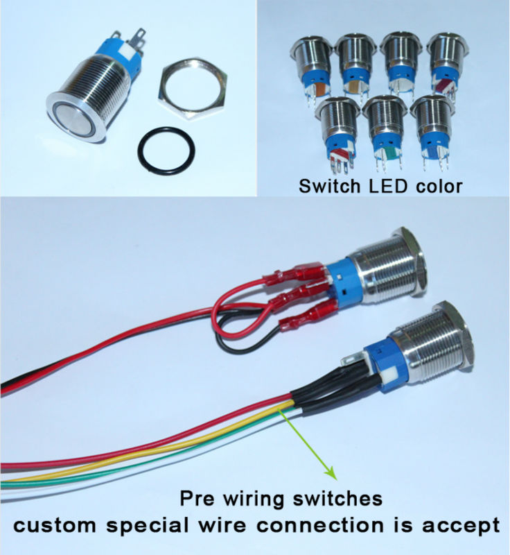 High Illumination Metal Led Switch Red Cap 5 Pin Push Button Switch ...