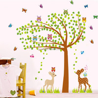 hot sell owls tree kids room wall sticker self adhesive wall mirror decoration stickers wholesale wall stickers tree owls JM7256