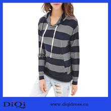 2015 Stripe hooded long-sleeved fleece sweater shirts manufacturer hoodies woman hoody wholesale fashion blouses