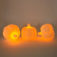 "Set of 3 Mini Wax 4"" Ivory Carved Pumpkins Flameless Battery Operated LED Candles with Five Hour Auto Timer"