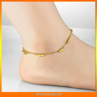 Rose gold plating titanium anklet for lady 18K gold plating Bell charms anklets